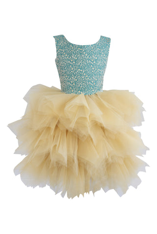 Dolly by Le Petit Tom Vivid Imagination Peter Pan Jacquard Dress in Green with lush tulle skirt.