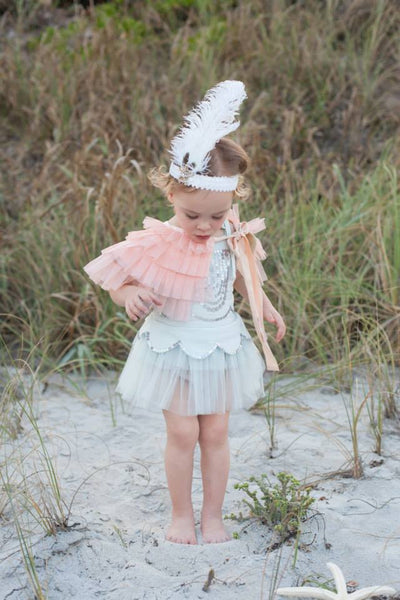 Joyfolie Gia Ruffled Capelet in Peach available for rent from The Borrowed Boutique.