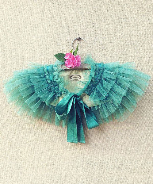 Joyfolie Gia Ruffled Capelet in Marine Green available for rent from The Borrowed Boutique.