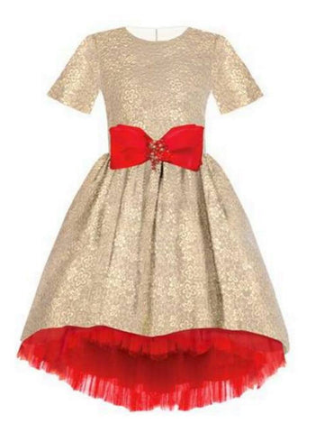 Lazy Francis High-Low Jacquard Dress in Gold with Red Bow and Red Tulle Lining available for rent from The Borrowed Boutique.