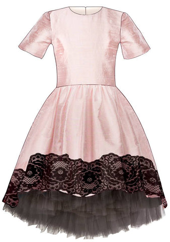 Lazy Francis Pink Raw Silk High-Low Dress with Black Lace and Grey Tulle Underskirt available for rent from The Borrowed Boutique.