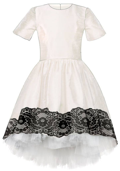 Lazy Francis White Raw Silk High-Low Dress with Black Lace and White Tulle Underskirt available for rent from The Borrowed Boutique.