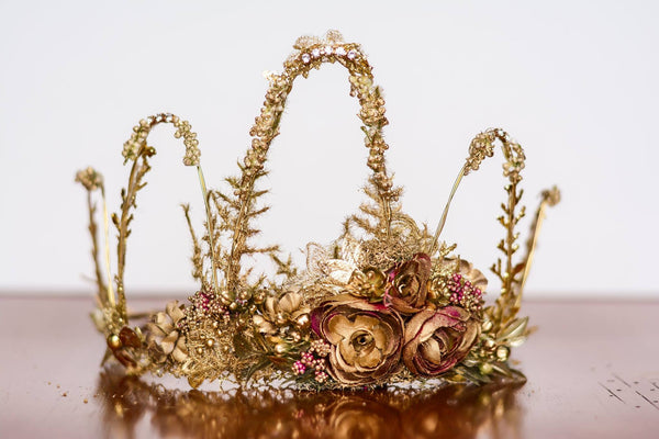 Little Lady Accessories Golden Olympia Floral Crown available for rent from The Borrowed Boutique.