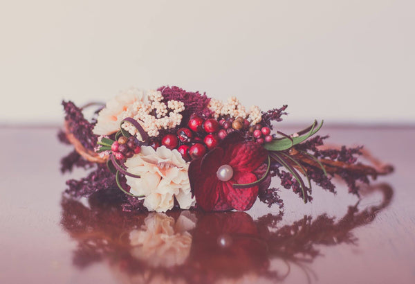 Little Lady Accessories Darby Red and Cream Floral Crown available for rent from The Borrowed Boutique.