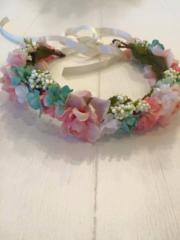 Little Lady Accessories Evette Duck Egg, Pink, and Cream Floral Halo available for rent from The Borrowed Boutique.