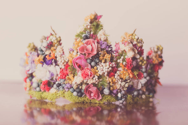 Little Lady Accessories Mossy Floral Head Crown available for rent from The Borrowed Boutique.