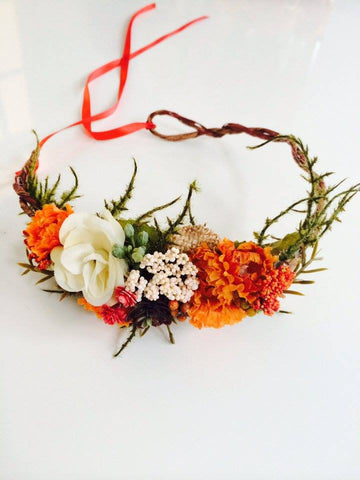 Little Lady Accessories Nella Orange, Cream, and Burlap Floral Halo available for rent from The Borrowed Boutique.
