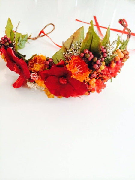 Little Lady Accessories Olivia Red, Orange, and Green Floral Halo available for rent from The Borrowed Boutique