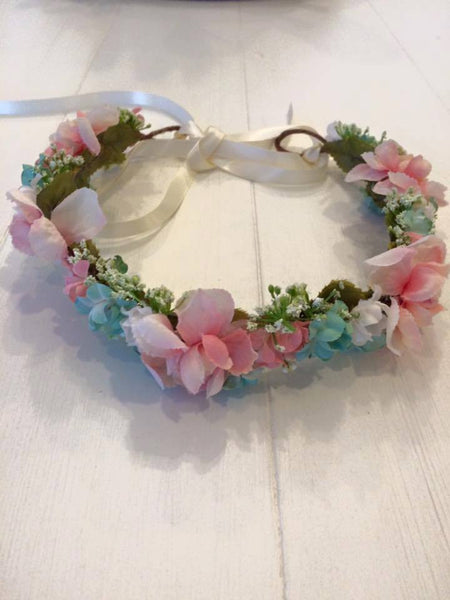 Little Lady Accessories Viviette Duck Egg, Pink, and Cream Floral Halo available for rent from The Borrowed Boutique.