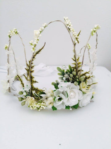 Little Lady Accessories Wedding White Floral Crown available for rent from The Borrowed Boutique.
