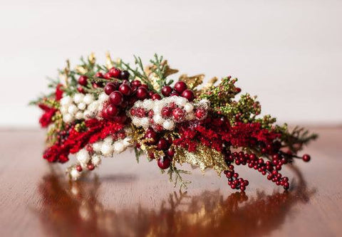 Little Lady Accessories Winter Berry Red, Green, and Gold Holiday Floral Halo available for rent from The Borrowed Boutique.