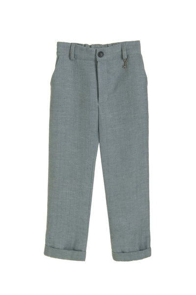 Little Wardrobe London Herringbone Trouser In Cool Grey