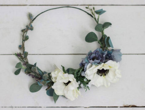Miss Stevi Marie Cool Toned Anemone Floral Crown available for rent from The Borrowed Boutique.