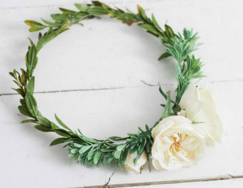 Miss Stevi Marie Cream Garden Flower and Greenery Floral Crown Halo available for rent from The Borrowed Boutique.