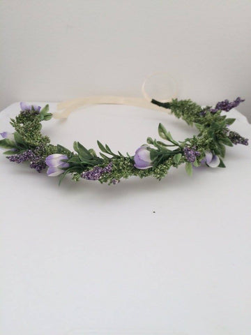 Miss Stevi Marie Lavender Floral Halo available for rent from The Borrowed Boutique.