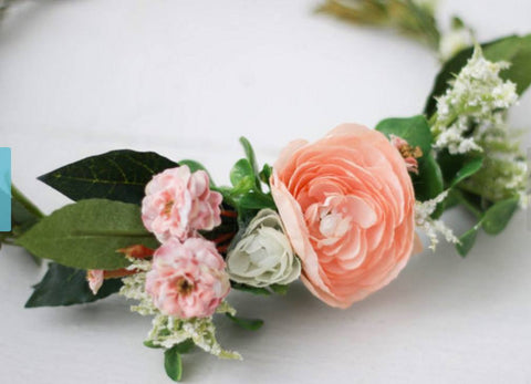 Miss Stevi Marie Multi-Colored Pastels with Greenery Crown Floral Halo available for rent from The Borrowed Boutique.