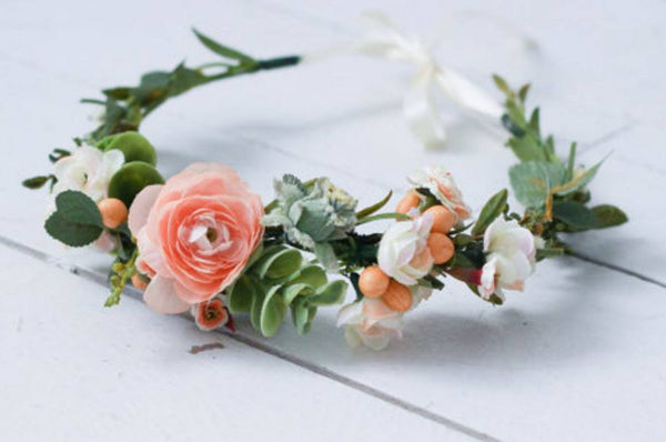 Miss Stevi Marie Pink, Peach, and White Garden Cluster Crown Floral Halo