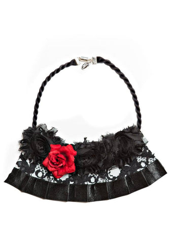 Modern Queen Kids Bed of Roses Necklace in Black available for rent from The Borrowed Boutique.