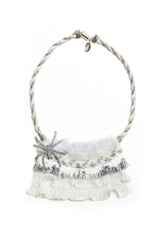Modern Queen Kids Ice Queen Spider Necklace in White and Silver available for rent from The Borrowed Boutique.