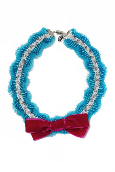 Modern Queen Kids Afternoon Tea Necklace in Blue and Red available for rent from The Borrowed Boutique.