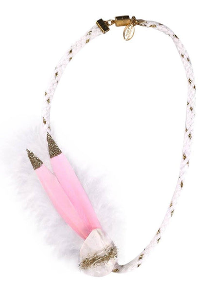Modern Queen Kids Birds of a Feather Necklace in Pink available for rent from The Borrowed Boutique.
