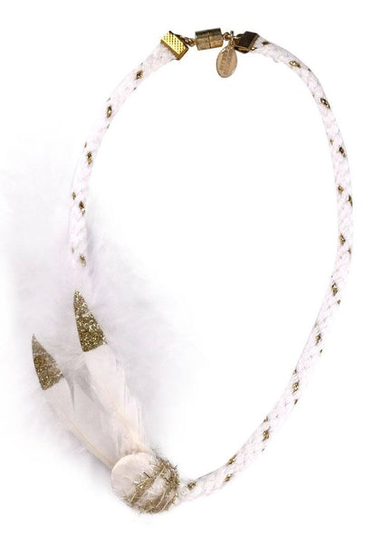 Modern Queen Kids Birds of a Feather Necklace in White available for rent from The Borrowed Boutique.