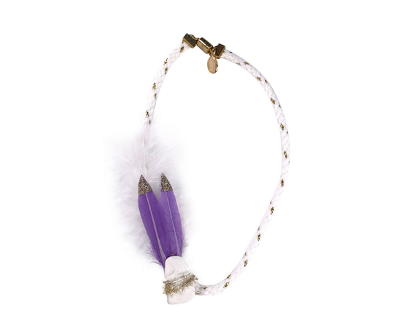 Modern Queen Kids Birds of a Feather Necklace in Purple available for rent from The Borrowed Boutique.