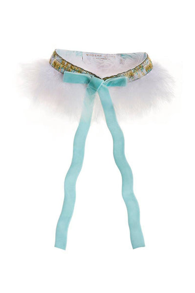 Modern Queen Kids Fanciful Feather Collar in White and Seafoam available for rent from The Borrowed Boutique.