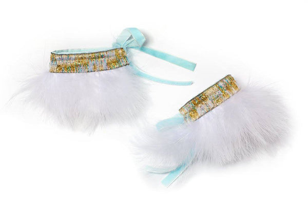Modern Queen Kids Fanciful Feather Cuffs in White and Seafoam available for rent from The Borrowed Boutique.