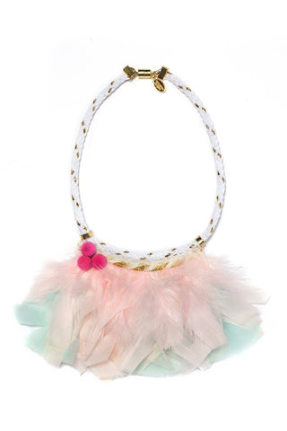 Modern Queen Kids Fanciful Feather Necklace in Pink and Turquoise available for rent from The Borrowed Boutique.