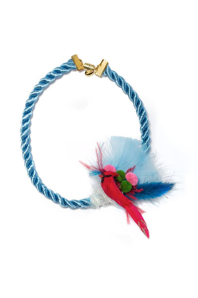 Modern Queen Kids Feathered Friends Necklace in Blue available for rent from The Borrowed Boutique.