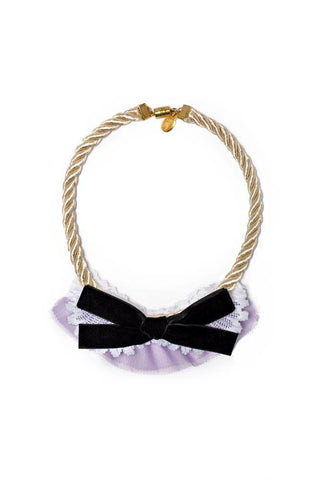 Modern Queen Kids French Bow Necklace in Lavender available for rent from The Borrowed Boutique.