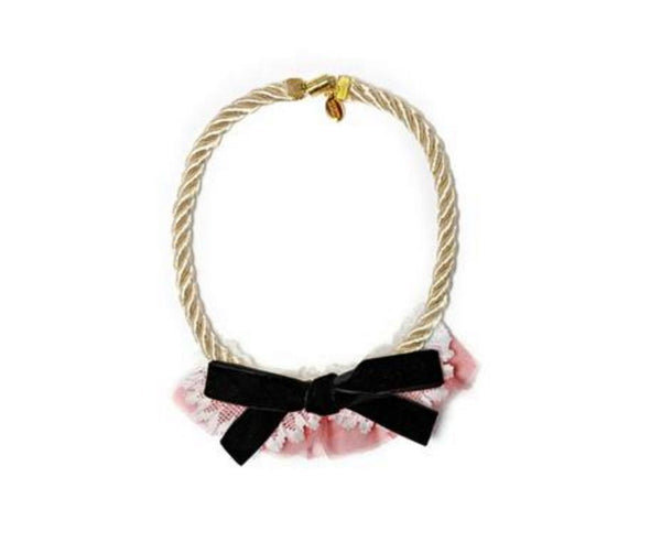 Modern Queen Kids French Bow Necklace in Pink available for rent from The Borrowed Boutique.