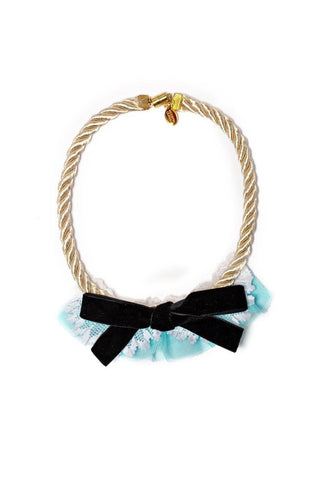 Modern Queen Kids French Bow Necklace in Seafoam available for rent from The Borrowed Boutique.
