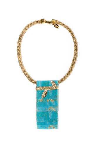 Modern Queen Kids Garden Runner Necklace in Blue available for rent from The Borrowed Boutique.
