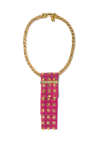 Modern Queen Kids Garden Runner Necklace in Pink available for rent from The Borrowed Boutique.