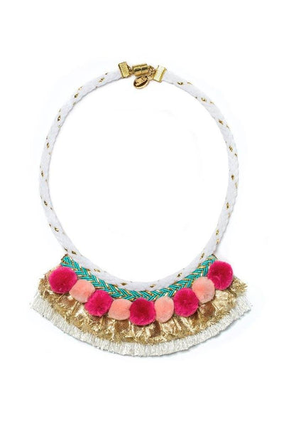Modern Queen Kids Golden Banner Poms Necklace available for rent from The Borrowed Boutique.