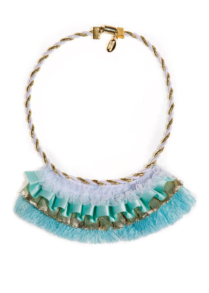 Modern Queen Kids Golden Banner Necklace in Seafoam available for rent from The Borrowed Boutique.