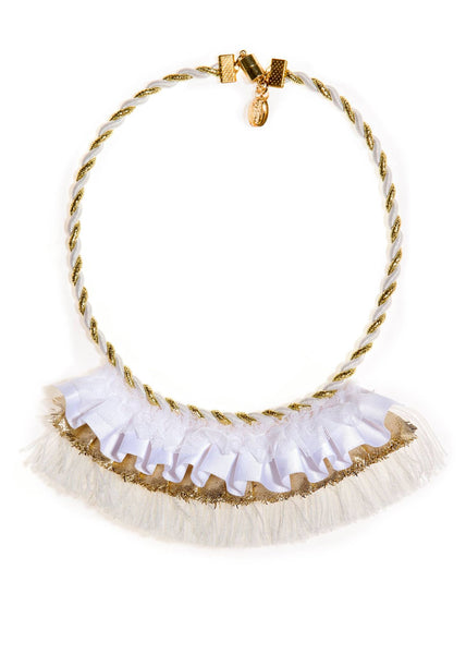Modern Queen Kids Golden Banner Necklace in White available for rent from The Borrowed Boutique.