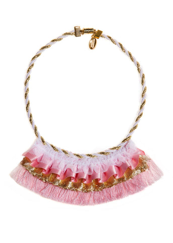 Modern Queen Kids Golden Banner Necklace in Pink available for rent from The Borrowed Boutique.