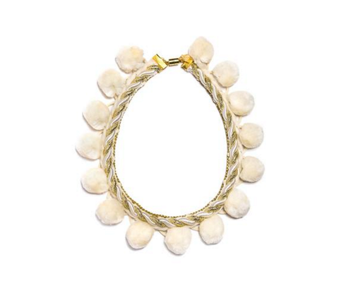 Modern Queen Kids Grand Pom Pearls Necklace in Cream available for rent from The Borrowed Boutique.