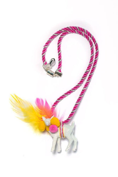 Modern Queen Kids Magical Creatures Darling Deer Necklace in Pink and Yellow available for rent from The Borrowed Boutique.