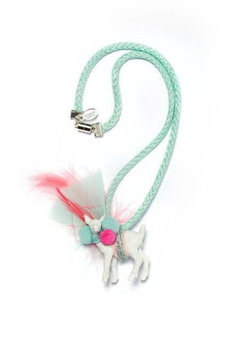 Modern Queen Kids Magical Creatures Darling Deer Necklace in Seafoam and Pink available for rent from The Borrowed Boutique.