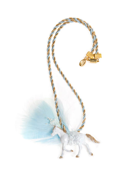 Modern Queen Kids Magical Creatures Pony Necklace in Cloud available for rent from The Borrowed Boutique.