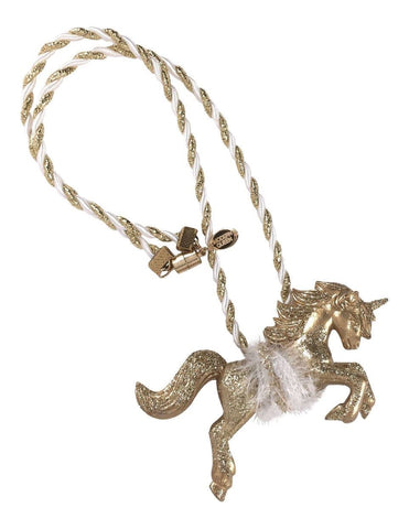 Modern Queen Kids Magical Creatures Unicorn Necklace in Gold available for rent from The Borrowed Boutique.