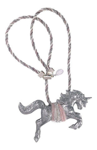 Modern Queen Kids Magical Creatures Unicorn Necklace in Silver and Pink available for rent from The Borrowed Boutique.