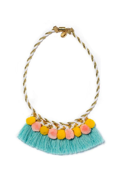 Modern Queen Kids Party Poms Necklace in Turquoise available for rent from The Borrowed Boutique.