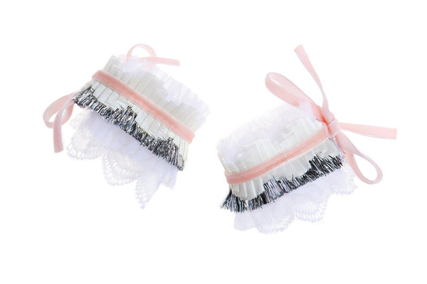 Modern Queen Kids Tulle Party Cuffs in Pink and Silver available for rent from The Borrowed Boutique.