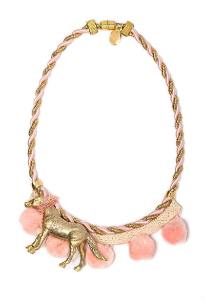Modern Queen Kids Playful Ponies Necklace in Rosegold and Pink available for rent from The Borrowed Boutique.