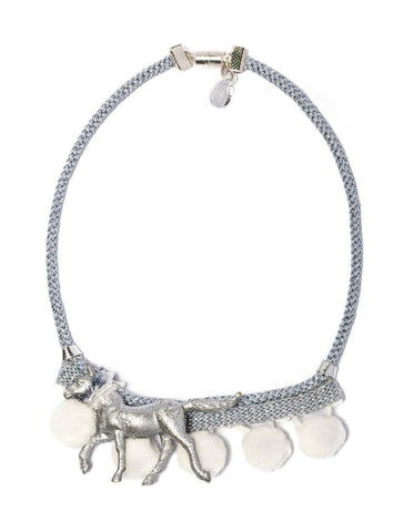 Modern Queen Kids Playful Ponies Necklace in Silver Ivory available for rent from The Borrowed Boutique.